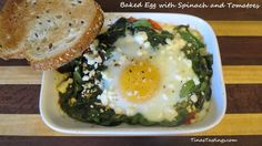Baked egg with spinach and tomatoes is a great item for your breakfast or brunch menu. I am always looking for something different and unique to serve on the rare occasion I have guests for breakfast or brunch. So…..for my sisters (who are usually my only over night guests), this may be on the menu …
