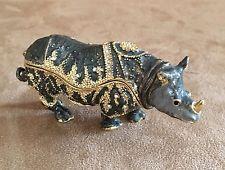 Rhino Jewelry Enamel Keepsake Trinket Box lidded rhinocerus animal jeweled