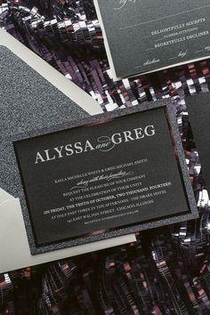 ALYSSA Suite Fancy Glitter Package, white on black paper, glitter wedding invitations, sparkly wedding invitations, gunmetal, grey, silver, black, black tie wedding invitations