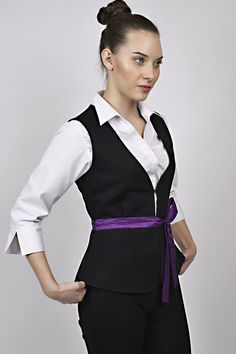 business look, white shirt, black waistcoat, purple detail, black and white, managemnt, receptions, uniform, uniforms Black Waistcoat, Business Look, Receptions, Management, Vest, Detail, Black And White, Purple, Jackets