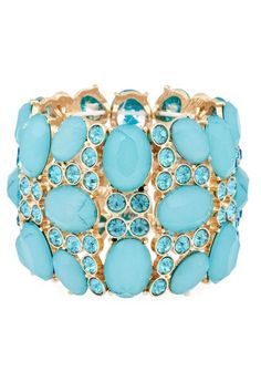 bracelet blue gem & crystal bangle Knitter this made me think of you :) Turquoise Jewelry, Turquoise Bracelet, Shades Of Turquoise, I Love Jewelry, Jewelry Box, Crystal Bracelets, Bangles, Blue Crystals, Jewelery
