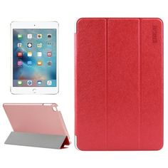 For+iPad+mini+4+ENKAY+Red+Silk+Smart+Cover+PU+Leather+Case+with+3+folding+Holder
