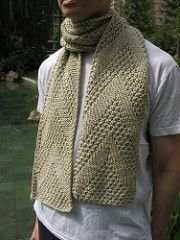 This Way Up men's scarf by Ann S, free pattern on Ravelry. This scarf looks fine on either side and is a quick and easy knit. You can make this with about 250 yards of bulky weight yarn or twice the amount of DK weight yarn, held double.
