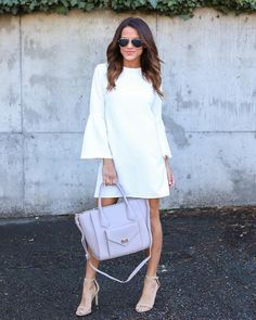 Just Believe Bell Sleeve Dress - White