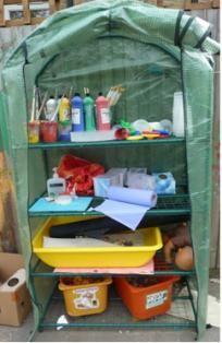 Garden storage at Southam Beehive nursery