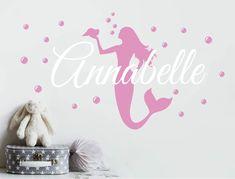 Personalised Mermaid Wall Sticker (Buy 2 Get FREE mix and match) Personalised Wall Stickers, Name Wall Stickers, Bubble Stickers, Personalized Wall Art, Wall Sticker Design, Wall Decor Design, Mermaid Wall Decals, Little Girl Bedrooms, Football Wall