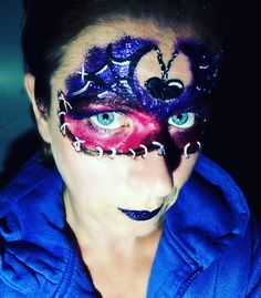#glamorous #glamoween #halloween #sillyfarm #facepainter #dutchie #practicemakesperfect #facepaint #purple #red #scars #staples #cuts #spiderweb #kleurtjesvanjade #inspirationtopaint
