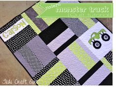 """I'm Amanda over here from Jedi Craft Girl. I am excited to share with you my tutorial for my """"Modern Monster Truck Baby Quilt""""."""