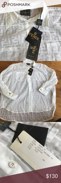 Authentic Fendi button down Authentic Fendi white button down collared shirt.  Brand new with tags.  Size 42 Fendi Tops Button Down Shirts