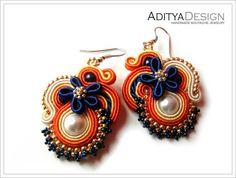 Soutache Earrings Orange Blue Handmade Jewelry by AdityaDesign, $39.00