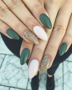 36 Perfect and Outstanding Nail Designs for Winter dark color nails; nude and 36 Perfect and Outstanding Nail Designs for Winter dark color nails; nude and sparkle nails; Dark Color Nails, Gray Nails, Pink Nail, Dark Green Nails, Green Nail Art, Dark Nail Art, Blue Gel Nails, Sns Nails Colors, Gradient Nails