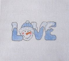 Blue LOVE Snowman with Snow Handpainted by MarsyesNPCanvas on Etsy