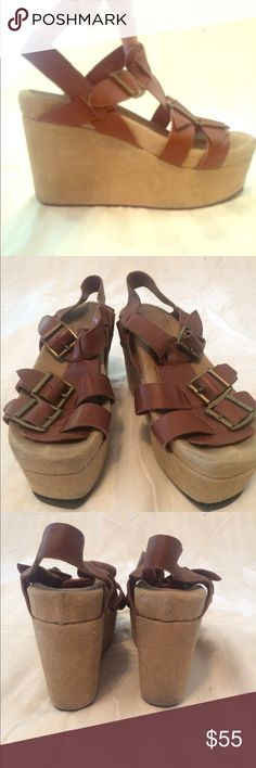 """Jeffrey Campbell Douma Super comfortable """"Flatform"""" sandal - tan leather upper with suede wedge. Looks great with everything Jeffrey Campbell Shoes Sandals"""