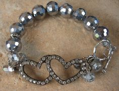 Rhinestone double heart Beaded bracelet by Nanettemc on Etsy, $14.00