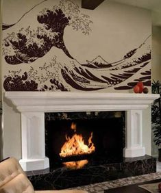 Asian Art Wall Stickers :: Great Wave Hokusai Wall Decal