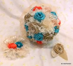 Wedding Bouquet, Bridal Bouquet, Fabric Bouquet, Shabby Chic, Fabric, Burlap and Lace, Turquoise and Coral by bouquetsbykeepsakes. Explore more products on http://bouquetsbykeepsakes.etsy.com