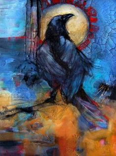 Beautiful painting of crow with blue and orange background Crow Art, Raven Art, Bird Art, Blue Raven, Choucas Des Tours, Crow Painting, Crows Ravens, The Crow, Wildlife Art