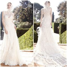 Bangkok by Yolan Cris - Romantic guipure & embroidered gauze gown. Sleeveles roll neck top, spectacular embroidered chantilly train.