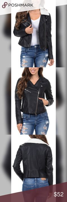 Amazing faux leather moto w/detachable fur 3 LEFT! Stunning detail- paneling on shoulders - zipper detail on cuffs- front zip pockets- gorgeous lapel with removable faux fur collar!! My favorite! Jackets & Coats