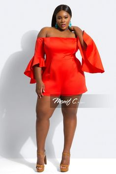 """Romper Love With Monif C.'s New Collection! http://thecurvyfashionista.com/2017/04/plus-size-romper-monif-c/  An off the shoulder plus size romper? Ohhh yes!   Rompers gone """"Grown & Sexy""""? Contemporary plus size designer, Monif C. has done it again and we have the details of her newest collection!"""