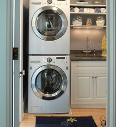 Love the stacked washer/dryer and the side cabinets minus the sink