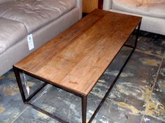 isabelle antique wood coffee table industrial piping gray metal