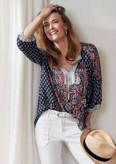 Sussan style - patchwork peasant blouse