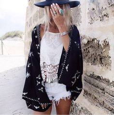 Boho + Gypsy Fashion for Summer + Black and White + Lace + Embroidery  + Silver and Turquoise Jewelery + Cool Cape .. Free People