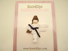 Karate Girl Ribbon Sculpture Hair Clip ...Hair Accessory ...Hair bow. $4.00, via Etsy.