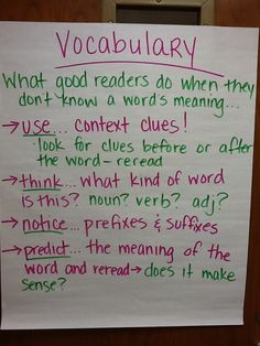 Vocabulary involves all the words in a language. One important aspect of vocabulary is understanding how to find the meaning of unknown words, and learning the skills to do so, doing so will also help improve the overall level of comprehension.