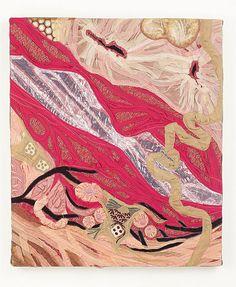 """""""Soft Painting: Ductus"""" painel em tecidos sobre chassis de madeira (panel made…"""