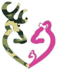 Browning Heart Buck Deer Camo Baby Girl and Doe by stickerscrate, $3.00 I NEED this! Logan and Ashley needs this...and baby girl.