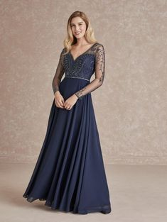 Adrianna Papell 40288 Sheer Long Sleeve Gown Long Sleeve Gown, Mother Of The Bride Gown, Flowy Skirt, Bride Gowns, Types Of Dresses, Dress Silhouette, Chiffon Dress, Bridesmaid Dresses, Bridesmaids