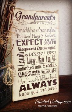 Grandparents Rules Painted Wood Signs - Painted Vintage