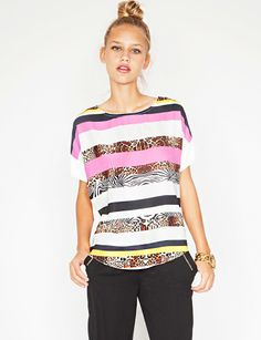 Animal print stripe top - Shop the latest Fashion Trends