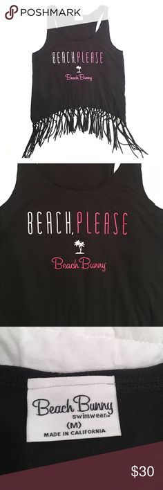 Beach Bunny Beach Please Tassel Racer Back Tank Beach Bunny racer back tank top with cute tassels, perfect for the beach! Wear over a swim suit or a pair of shorts. ☀️️💗☀️️💗 Brand New No Tags. Very special! Beach Bunny Tops Tank Tops