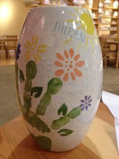 Grandparents handprint keepsake vase. Do you have a pottery place in your local mall? This is a wonderful gift.