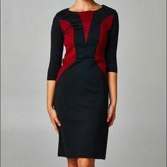Black And Wine Sheath Dress
