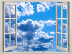 Sky-Clouds 3D Window Wall Sticker Sky Wall Decal by Dalvars