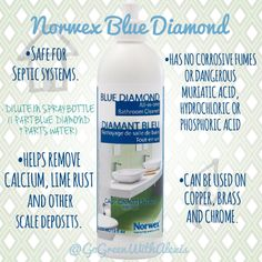 Do you have hard water? If you do, you are going to love and be blown away by this product!  For routine bathroom cleaning use 1 part Blue Diamond and 9 parts water. Blue Diamond is not recommended for use on stainless steel. We recommend  Norwex Cleaning Paste for those because it cleans, polishes and protects in one application with a unique formulation of marble-flour, natural soap and coconut oil. #greencleaning #bathroom #toilet #rust #calcium #easycleaing