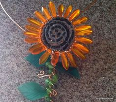 Sunflower Necklace Wire sculpture Art Ooak by Originalsbydenise