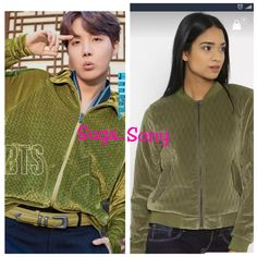 Jhope inspired jacket Click to buy #bts #bangtan #kpop #JHope #hobi #hoesoek #fashion Jhope, Olive Green, Jackets For Women, Bomber Jacket, Bts, India, Inspired, Stuff To Buy, Inspiration