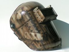 Want to know more about this -> awesome metal welding projects Custom Welding Helmets, Welding Caps, Welding Gear, Diy Welding, Welding Table, Welding Hood, Metal Projects, Welding Projects, Airbrush