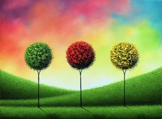 ORIGINAL Art Abstract Tree Painting, Textured Oil Painting, Abstract Art, Multicolored Mid Century Wall Art, Contemporary Landscape, 12x16 by BingArt on Etsy