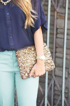 Make it sparkle with SEQUINS. Mint green khakis, navy top and just the right amount of bling