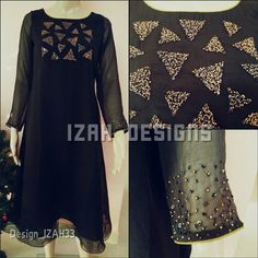 Embroidery neck designs - shiny black georgette kurthi with lining and triangle handwork on chest, work on sleeves Piping on sleeves and neck MRP Rs 2250 Available sizes s, m, l Size description Small (che Embroidery On Kurtis, Hand Embroidery Dress, Kurti Embroidery Design, Embroidery Neck Designs, Embroidery Suits, Embroidery Fashion, Embroidery Works, Kurta Designs Women, Kurti Neck Designs