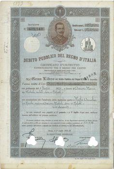 DEBITO PUBBLICO DEL REGNO D' ITALIA - CERTIFICATI D' USUFRUTTO 3,5% (LEGGE 1906) - #scripomarket #scriposigns #scripofilia #scripophily #finanza #finance #collezionismo #collectibles #arte #art #scripoart #scripoarte #borsa #stock #azioni #bonds #obbligazioni