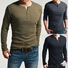 1 Cool Men Long Sleeve Henley Slim T-Shirt TEE Dexter Kill Army Green Black Blue #NEWBRAND #LONGSLEEVESSHIRT