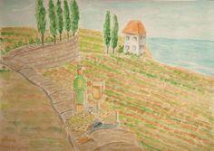 Bild Landschaft  Italien  Aquarell Original Unikat 21*29,7cm signiert datiert