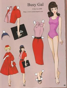 (⑅ ॣ•͈ᴗ•͈ ॣ)♡                                                             ✄Paper Dolls Barbie Busy Gal paper doll by Siyi Lin